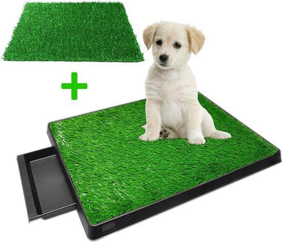 AWEMOZ® Hondentoilet Kunstgras Met 2 Matten - 63x50x6cm - Indoor / Outdoor Honden Toilet – Puppy Pads - Zindelijkheidstraining Hond – Training Pads