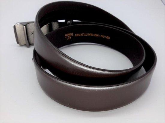 strak glad leren riem, bruin, automatische buckle, L120cm, H32mm, D4mm