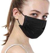 100 stuks Zwarte mondkapjes 3-laags met elastiek-