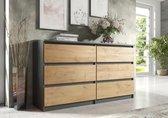 Pro-meubels - Ladekast Stamford - Antraciet/Eiken - 138cm -  Commode - 6 lades
