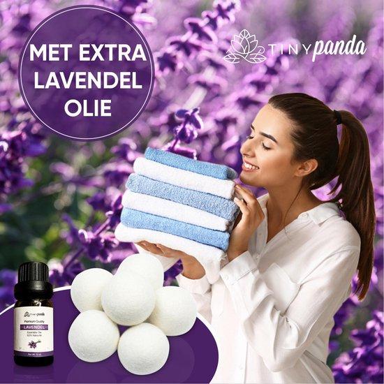 Droger Ballen XL 6 stuks inclusief lavendelolie – Zero waste Dryer Balls - Duurzaam – Wasverzachter – Herbruikbare Drogerballen – Droogt de was sneller – Tiny Panda