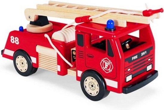 Pintoy Grote Houten Brandweerauto 45 cm
