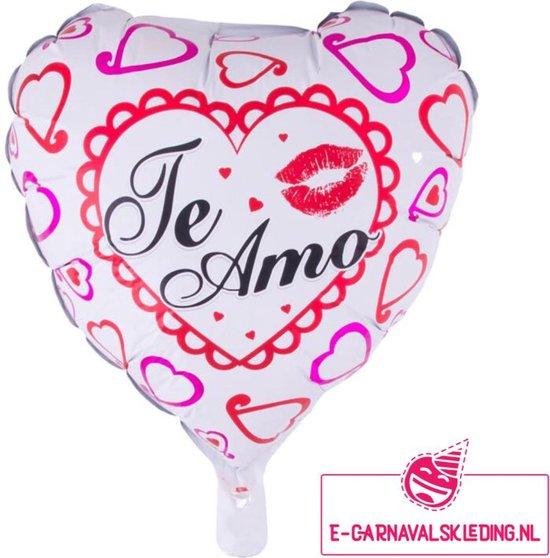 Folie ballon roze hart Te Amo voor Valentijnsdag of andere liefde volle momenten. 52x46cm