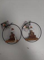 2 decoratieve beeldjes van een meeuw