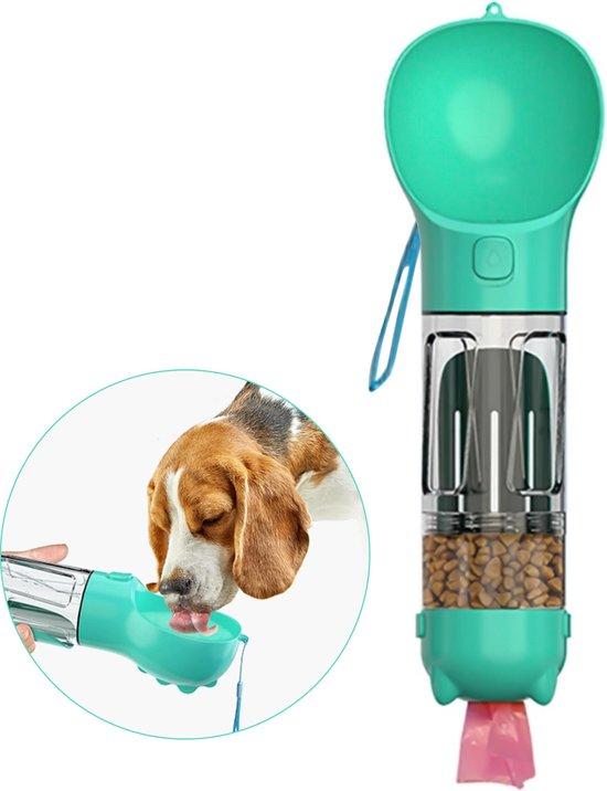 RoiPets 3 in 1 Honden Drinkfles - 350ml - Incl. Poepzakjes & Polsband- Lek Vrij - Voor Onderweg - Honden Bidon - Waterfles