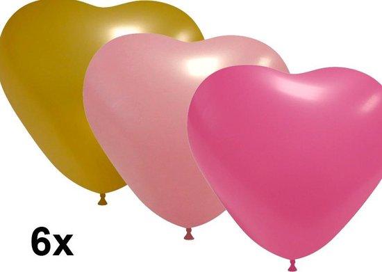 Hartjes ballonnen mix roze-goud, 6 stuks, 28cm