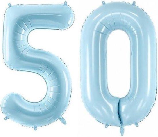 Folie ballon cijfer 50 jaar – 80 cm hoog – Blauw - met gratis rietje – Feestversiering – Verjaardag – Abraham Sarah - Bruiloft