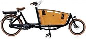 Elektrische bakfiets bakfietsen - fiets - eco - Qivelo Curve 2 wieler - Middenmotor Bafang - unisex - matzwart - bruin - shimano naaf versnelling