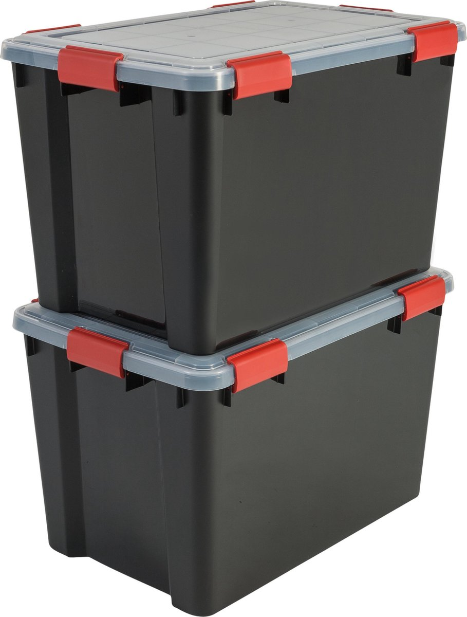 IRIS Airtight Opbergbox - 70L - 2 stuks - Zwart/Rood