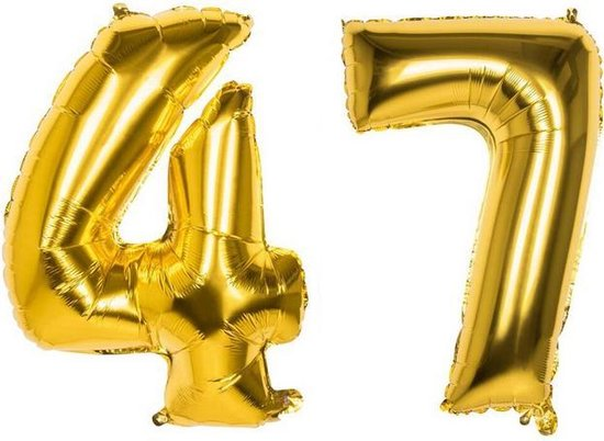 47 Jaar Folie Ballonnen Goud - Happy Birthday - Foil Balloon - Versiering - Verjaardag - Man / Vrouw - Feest - Inclusief Opblaas Stokje & Clip - XXL - 115 cm