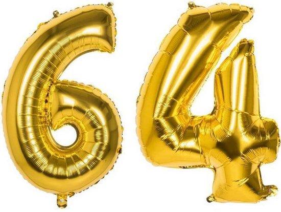 64 Jaar Folie Ballonnen Goud - Happy Birthday - Foil Balloon - Versiering - Verjaardag - Man / Vrouw - Feest - Inclusief Opblaas Stokje & Clip - XXL - 115 cm