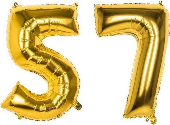 57 Jaar Folie Ballonnen Goud - Happy Birthday - Foil Balloon - Versiering - Verjaardag - Man / Vrouw - Feest - Inclusief Opblaas Stokje & Clip - XXL - 115 cm