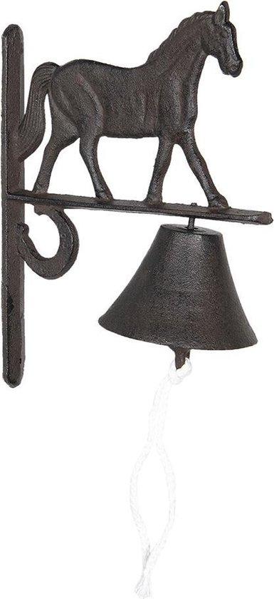 Clayre & Eef Ouderwetse Deurbel Gietijzer Paard 20*11*27 cm Bruin Ijzer Tuinbel Buitenbel