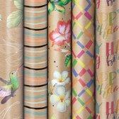 Natuur 1 - assortiment cadeaupapier inpakpapier - 200 x 70 cm - 5 rollen