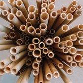 Herbruikbare Bamboe Rietjes   Lengte 20cm   15 Stuks   Incl Schoonmaak Borstel & Tasje  Plastic Vrij