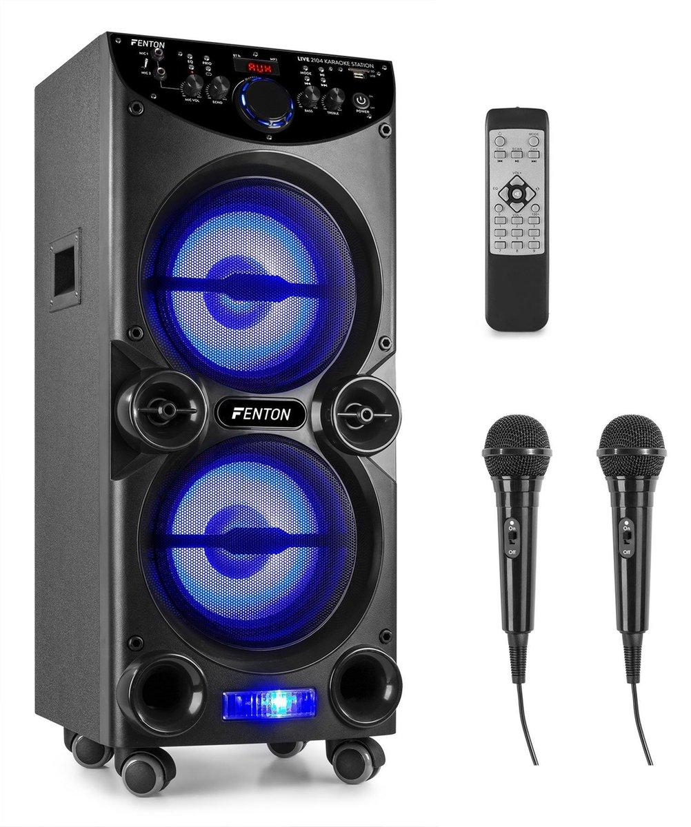 Karaoke set - Fenton LIVE2104 verrijdbare karaokeset met twee microfoons, Bluetooth, mp3 speler en d