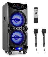 Karaoke set - Fenton LIVE2104 verrijdbare karaokeset met twee microfoons, Bluetooth, mp3 speler en disco LED's