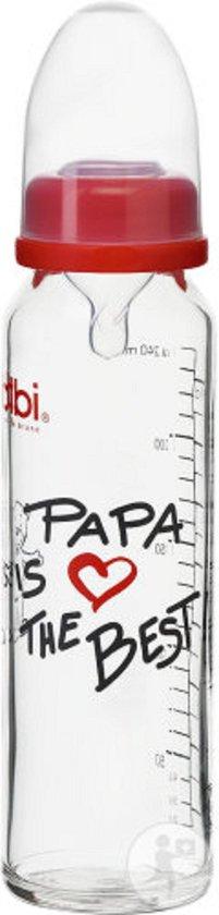 Product: Bibi - Babyfles - Zuigfles - Melkfles - 260 ml - Papa is the best, van het merk Bibi