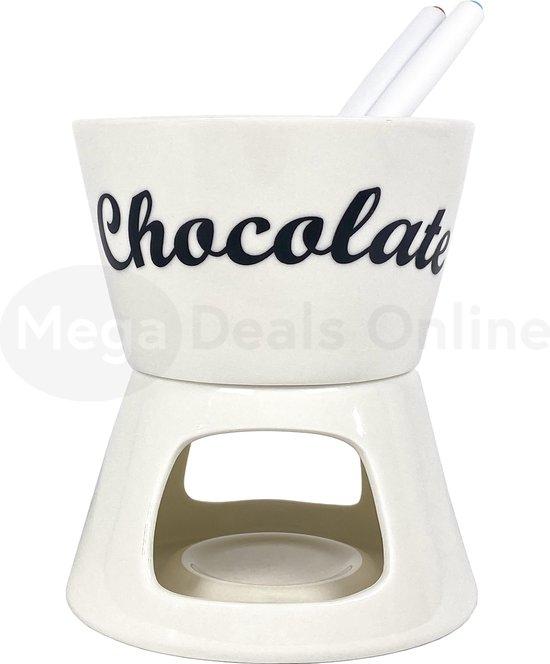 Fondueset - Fonduepan - Chocoladefondue - Fonduepan met kaarsje - Waxinelichtje - Waxinekaarsje - 2 fonduevorken - Keramiek - Wit