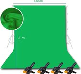 Supplyu Green Screen + 4x Achtergrond Klem - Buisklem