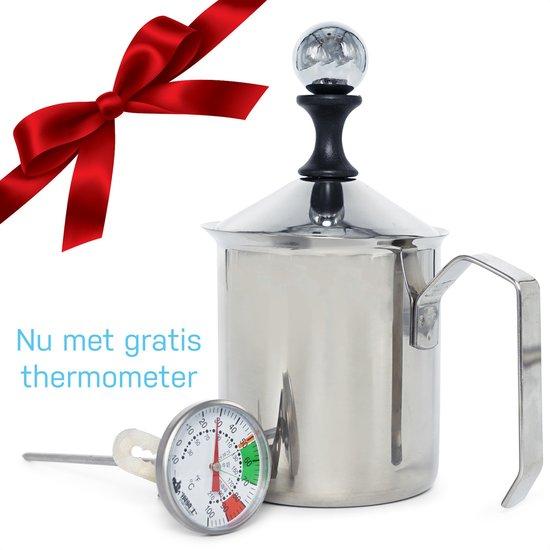 Melkopschuimer handmatig – melkschuimer – melkopschuimkan - melkkannetje RVS - 400 ml