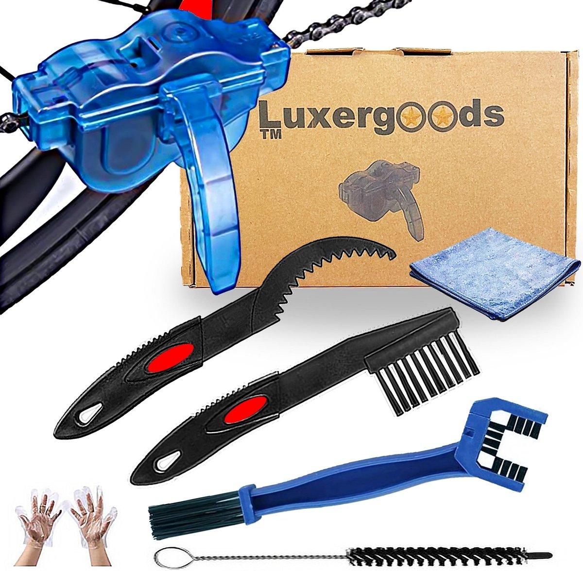 Luxergoods Fietsketting reiniger - Ketting schoonmaken - 9 delig - Inclusief borstel - Gratis handsc
