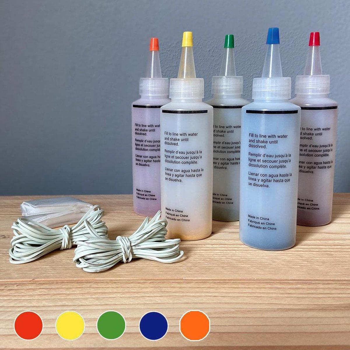 Complete tie dye starterset met 5 kleuren - Rood, geel, groen, blauw & oranje - 120ml - Tie Dye kit - Tie Dye Verf - Textielverf - Batik verf