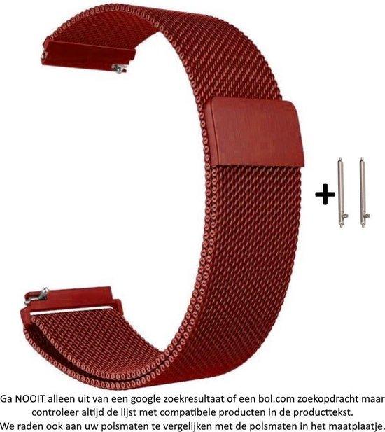 Rood Metalen bandje Milanees voor 20mm Smartwatches (zie compatibele modellen) van Samsung, Pebble, Garmin, Huawei, Moto, Ticwatch, Seiko, Citizen en Q – 20 mm red milanese smartwatch strap
