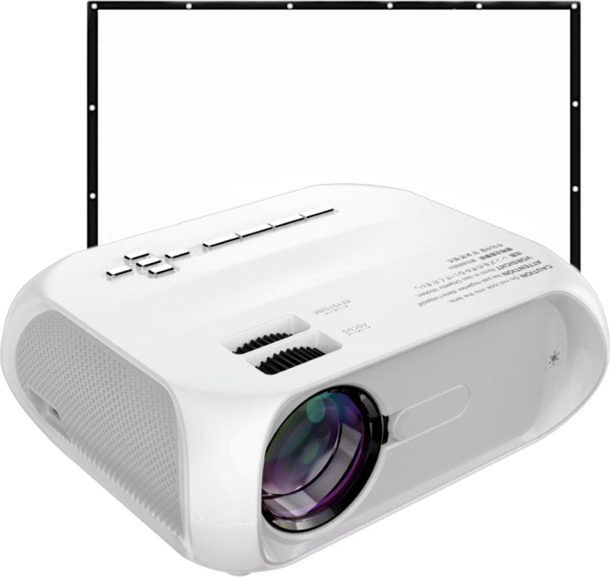 Qwatch Beamer met Projectiescherm - Full HD - 5000 Lumen - LED - 1920 x 1080 - Ingebouwde speaker -