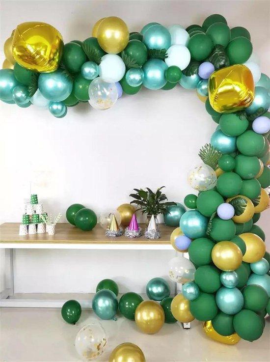 Baloba® BallonnenBoog Groen Goud - Feest Versiering met Papieren Confetti Ballonnen - Verjaardag Bruiloft Versiering - 167 Helium Ballonnen