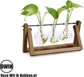 Nordic style houten/glazen tripple vaas --- Geschikt voor stekjes, bloemen, waterplanten (Hydroponie)