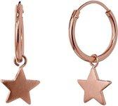 Violet Hamden 925 Sterling Zilveren Roségoudkleurige Star Hoops Oorbellen  - Roségoud