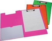 Klembordmap LPC A4/Folio met 100mm klem + penlus neon roze