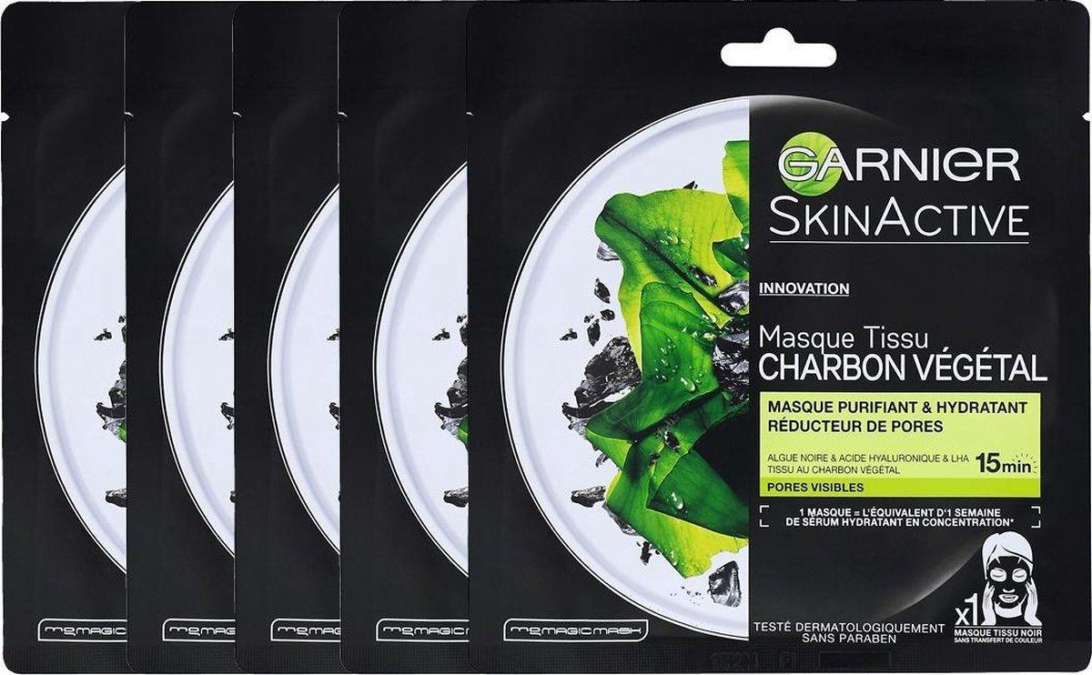Garnier Skinactive Face Pure Charcoal Zwart Sheet Masker - 5 stuks - Voordeelverpakking - Masque Vis