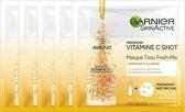 Garnier - SkinActive Fresh-Mix Vitamine C Masker - 5 Stuks - Revitaliserend Tissuemasker - Voordeelverpakking