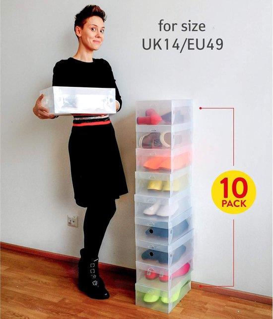 Transparante Schoenen Dozen - Schoenen Opberbox Met Deksel - Opvouwbare Shoe Organizer Opbergdoos Opberger Opbergsysteem - Schoenendoos Set Van 10 Stuks