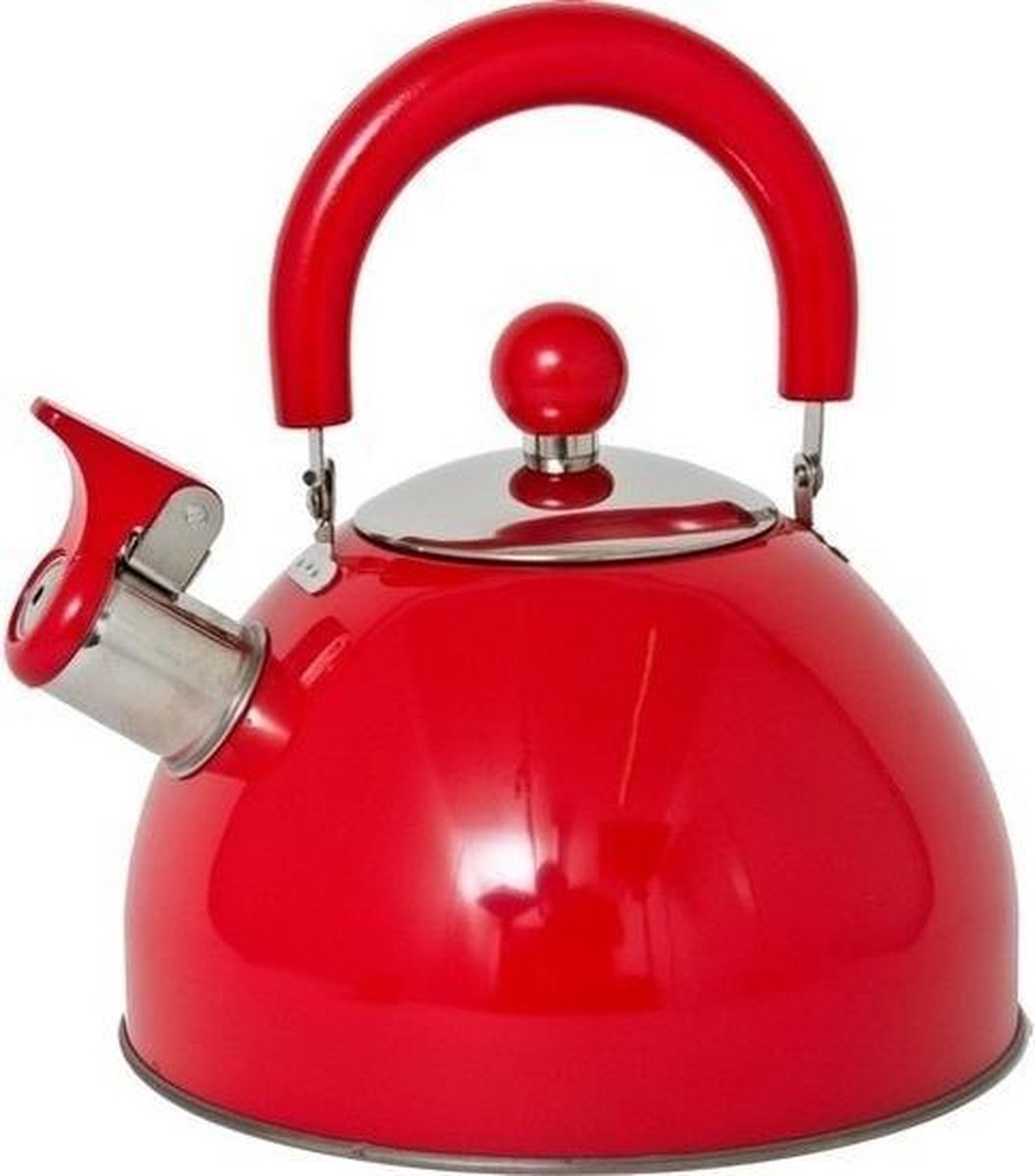 | Rode fluitketelwaterkoker RVS 2,5 liter