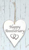 "Houten hart ""Happy Anniversary"""