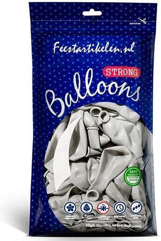 Metallic ballonnen 1e klas zilverkleurig 100 stuks