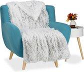 relaxdays knuffeldeken bont look - fleece deken - woondeken - plaid - grand foulard sprei Wit-Grijs, 220x240cm