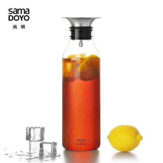 S065 Glazen waterkan met design dop 900ml Samadoyo