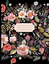 Pretty Watercolor Flowers Black Notebook