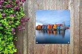 Kleurrijke huizen in een wijk in Groningen Tuinposter 80x60 cm - Tuindoek / Buitencanvas / Schilderijen voor buiten (tuin decoratie)