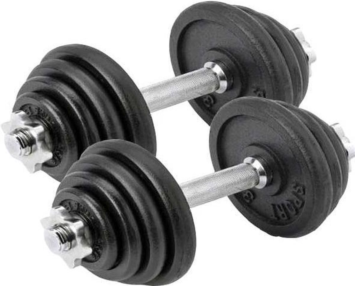 Dumbbell set Focus Fitness - Totaal: 30 kg - 2 stuks van 15 kg
