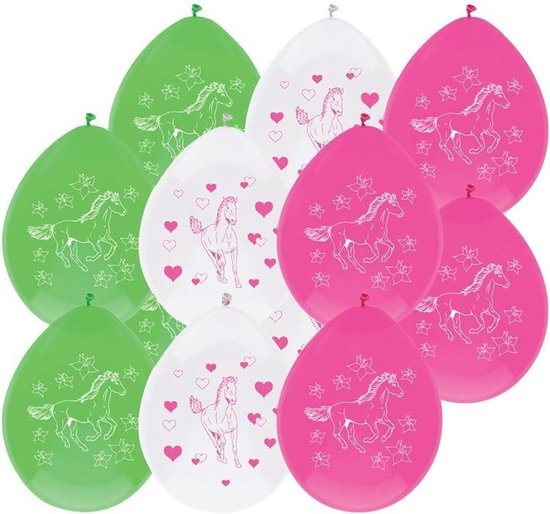12x Paarden ballonnen versiering 30 cm - Paarden/pony thema feest ballon kinderfeestje/verjaardag