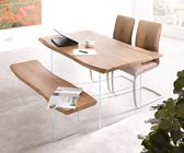 Massief houten tafel Live-Edge acacia Natuur 140x90 bovenblad 3,5 cm glazen poten boomtafel