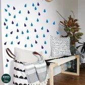 Regendruppels raam-, muurstickers set 114 stuks in 2 kleuren Kobalt & Donker Blauw