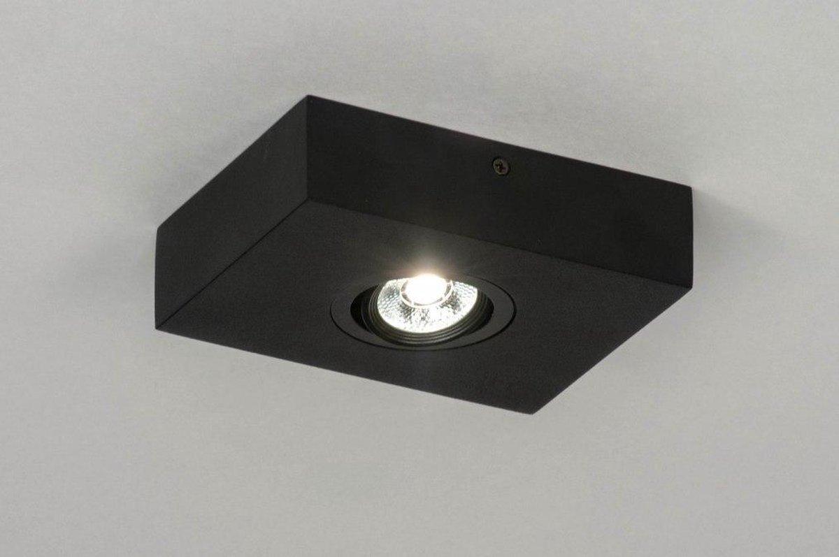 Lumidora Opbouwspot 73300 - Ingebouwd LED - 3.0 Watt - 300 Lumen - 2700 Kelvin - Zwart - Metaal - Badkamerlamp