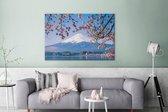 Uitzicht op de Fuji Berg in het Aziatische Japan Canvas 120x80 cm - Foto print op Canvas schilderij (Wanddecoratie woonkamer / slaapkamer)