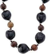 Beste bol.com | Lange houten kralen ketting dames met zwarte en bruine UY-42